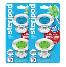 Steripod Clip-on Toothbrush Protector: 2 Crystal Clear Blue & 2 Crystal ... - $15.23