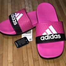 Adidas Adilette Comfort K Kids Slides Sandal BA44875 Shock Pink White Black Sz-1 - $19.79