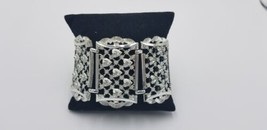 Vintage Silver Tone Chunky Wide Bracelet W/ 3D Cut Heart Designs All Over  - $29.02