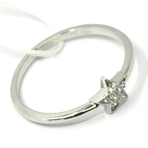 SOLID 18K WHITE GOLD RING, MINI CENTRAL STAR 6mm WITH DIAMONDS image 1