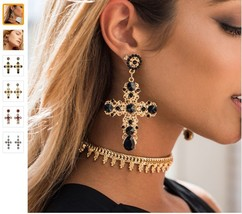 Vintage Crystal Cross Drop Earrings for Women Baroque Bohemian Large Lon... - $5.49