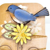 Bluebird Blue Bird Yellow Flower Metal Garden Pot Sticker image 2