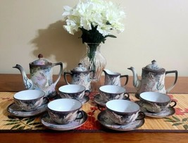 Vintage Imperial Nippon Hand Painted 19Piece Moriage Dragon Tea Set & Coffee Pot - $346.49