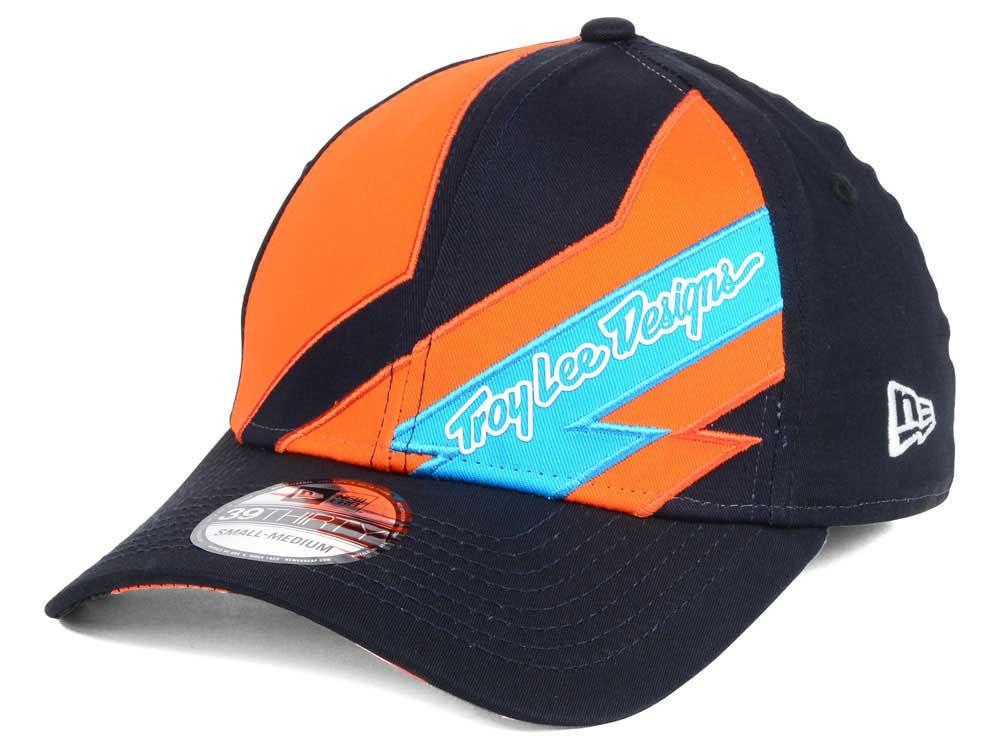 New Era Troy Lee Design Caution Cap Hat 39Thirty - Large (M-L) Black Orange