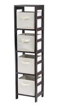 Capri 4-Section N Storage Shelf with 4 Foldable Beige Fabric Baskets - $97.98