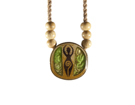 Resin and Wood, Handmade Necklace with Burned Motif - $40.00