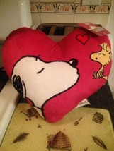 Peanuts Valentine's Day Soft Plush HEART PILLOW Snoopy Blowing Woodstock... - $34.99