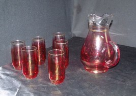 AA18 - 1178 Vintage Red Opaque Pitcher with 6 Matching Glasses - $68.55