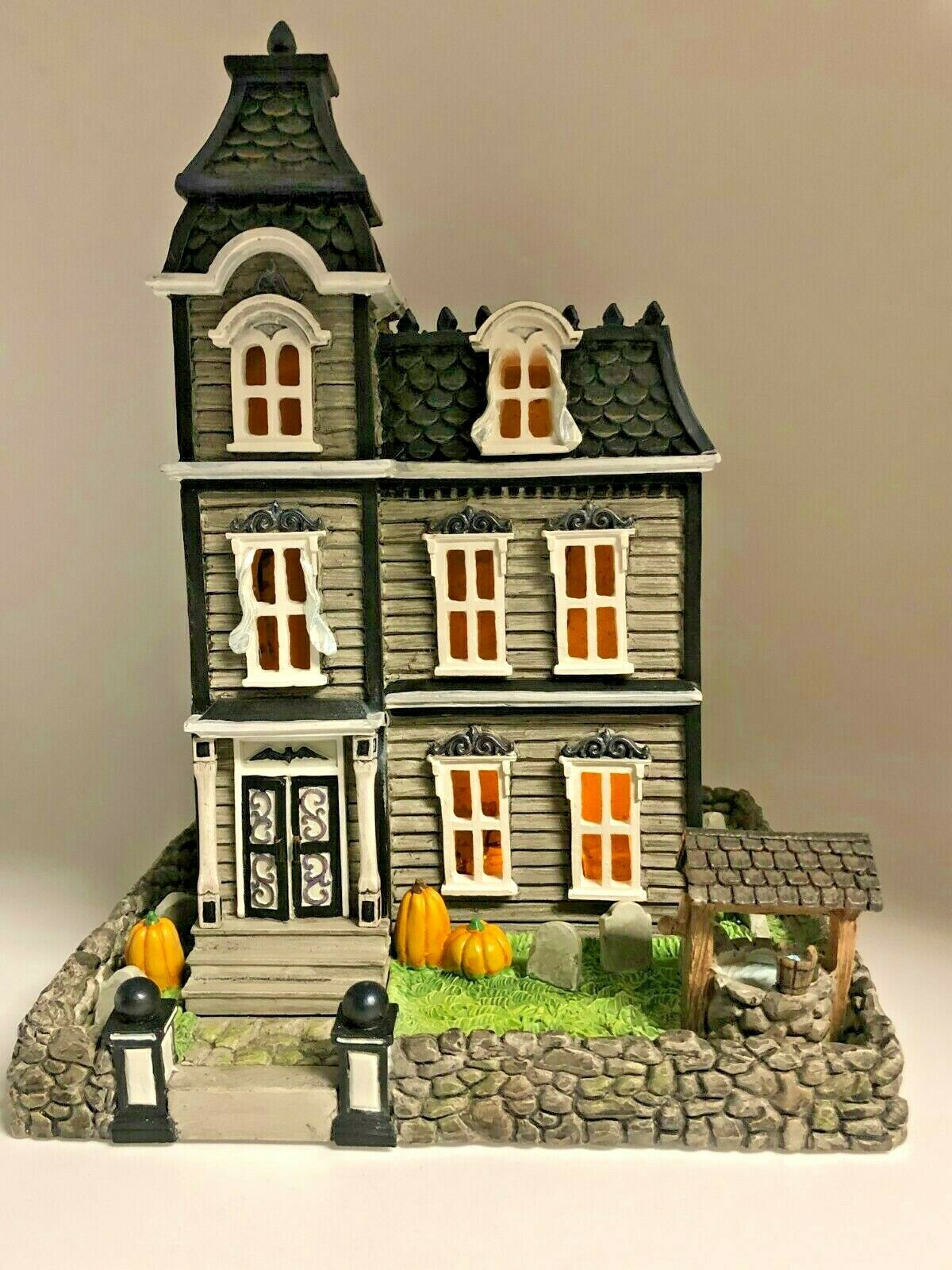 Lenox Halloween Lighted Haunted House Pumpkins Tombstones Scary Well Decoration - $180.00