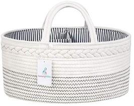 Luxury Little Baby Diaper Caddy Organizer - Rope Nursery Storage Bin for... - $39.04