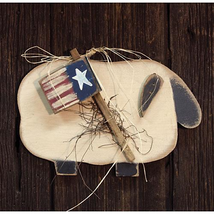 Patriotic HANGING SHEEP W/ AMERICAN FLAG Country Primitive Farmhouse Rustic - $40.99