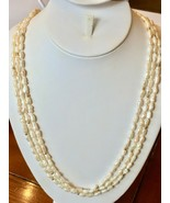 """3 Freshwater White Seed Pearl Strand Necklaces 30"""" NEW Baroque gold plat... - $32.92"""