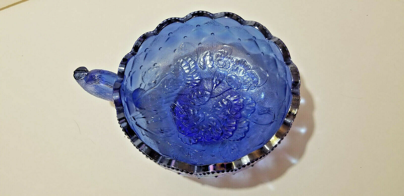 "Candy dish coffee cup bowl 6"" carnival glass cobolt blue w pearlized rainbow +"
