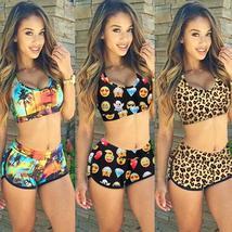 Womens Floral Bikini Set Crop Top High Waist Short Summer Bathing Suit Swimsuit image 7