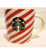 STARBUCKS Coffee Cup Mug CANDY CANE RED WHITE STRIPES Siren Logo 12 Ounce - $12.95