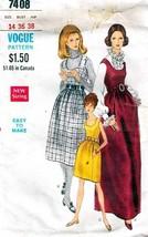 1960'S Misses' DRESS or JUMPER Vogue Pattern 7408-v Size 14 - Complete - $12.99