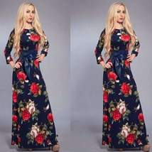 Retro Flower Print Quarter Sleeve Women Maxi Dress - $35.08