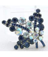 Vintage Silver Tone Blue Clear Aurora Borealis Rhinestone 3D Flower Pin Brooch