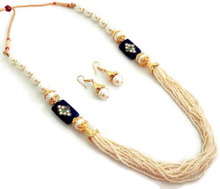 Indian Bollywood GoldPlated Dark Blue White Beads Kundan Necklace  Earrings Set - $13.65
