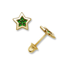14K Yellow Gold Multi-Color Stones Stud Screw Back Earrings 0.18CT - $55.99