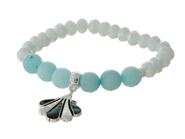 Faceted & Mint Green Natural Stone Beaded Stretch Bracelet - ₨1,079.26 INR