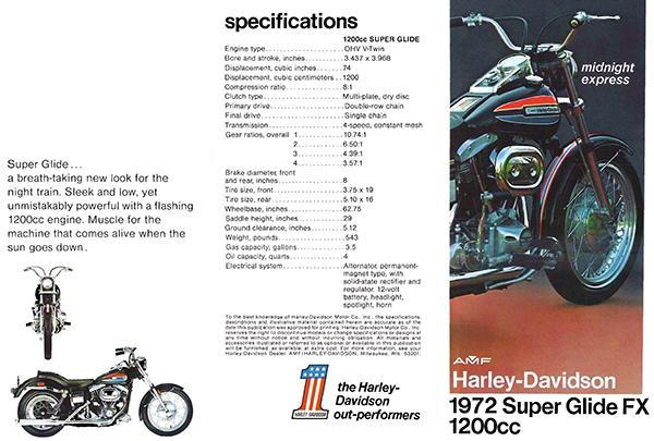 Primary image for 1972 AMF Harley-Davidson Super Glide FX 1200cc - Promotional Advertising Poster