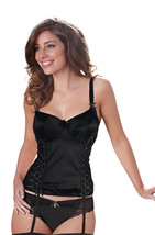 Bravissimo Black Satin Boned Basque with Suspenders and silver trim 32HH uk - $24.61