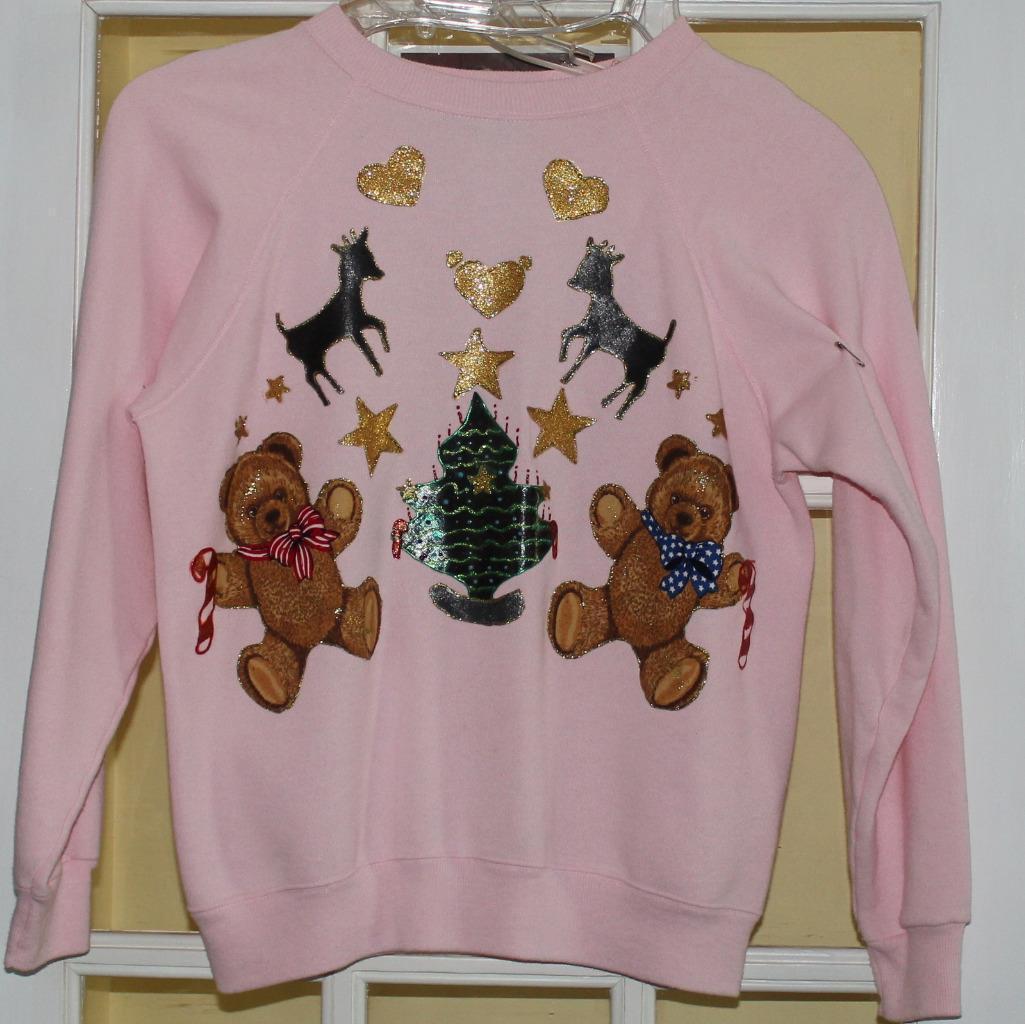 Handcrafted Christmas Hanes Her Way Shirt Bears Stars Reindeer Glitter Size L. - £7.23 GBP