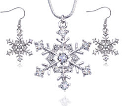 Snowflake Wedding Bridesmaid Pendant Necklace & Earrings Anniversary Jew... - $29.98