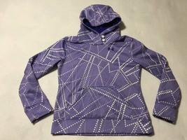 Under Armour Girls L YLG Purple White Dot Button Neck Hoodie Sweatshirt ... - $9.99