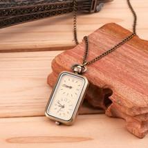 Antique Style Bronze Necklace / Pendant Quartz Watch - Dual Time - $12.90