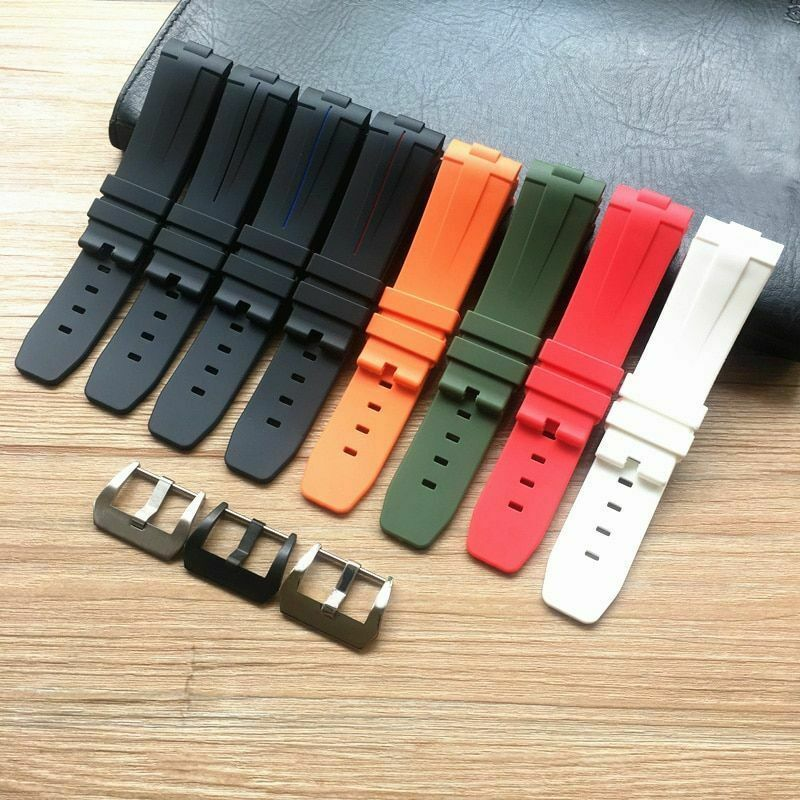 Soft 24mm Curved End Silicone Rubber Watchband For Panerai PAM Bracelet Straps - $31.63 - $42.80