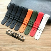 Soft 24mm Curved End Silicone Rubber Watchband For Panerai PAM Bracelet ... - $31.63+