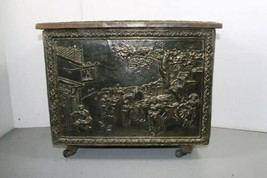 "Vintage Wood Metal Brass Tone Wheel Rolling Storage Chest 18.5""x14""x12.5"" Box image 1"