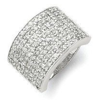 SOLID POLISHED STERLING SILVER 8-ROW CZ RING 22MM WIDE BAND -  SIZE 7 - £55.12 GBP