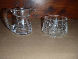 Waterford Ireland Tralee Crystal Creamer Pitcher & Sugar Bowl Set Etched Signed - $46.74
