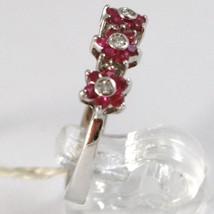 Ring aus Weißgold 750 18K, Trilogie Rosette, Blumen mit Rubine und Diamanten image 2