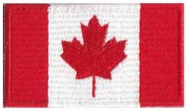 "Canada Flag Embroidered Iron-On Patch - 2 1/2 x 1 1/2"" - $4.90"