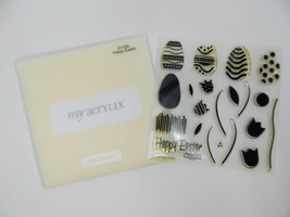 Close To My Heart Acrylix Stamp Set D1085 Happy Easter Spring Eggs Flowers Leaf - $9.89