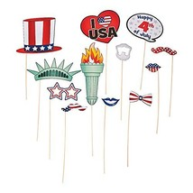 12 Piece Bulk Pack American Patriotic Paper Photo Booth Stick Prop 4th o... - £8.74 GBP