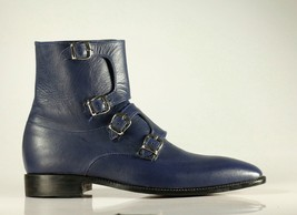 Handmade Men's Blue Leather High Ankle Monkstrap Boots image 2