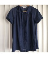 Vanity Fair Navy Blue Floral Nylon Pajama Button Front Top Medium Vintage - $12.09