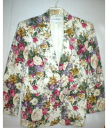 JH Collectibles Suit Seperates Blazer Jacket 8 Womens Cream USA Floral R... - $20.00