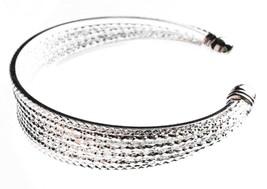 EleQueen Shiny Silver Tone 10-row Austrian Crystal Bangle Cuff Bracelet NWT image 2