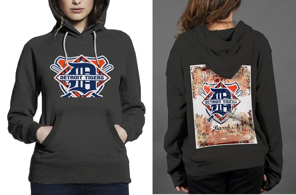 NEW !! Detroit Tigers Baseball Classic Black women's Hoodie
