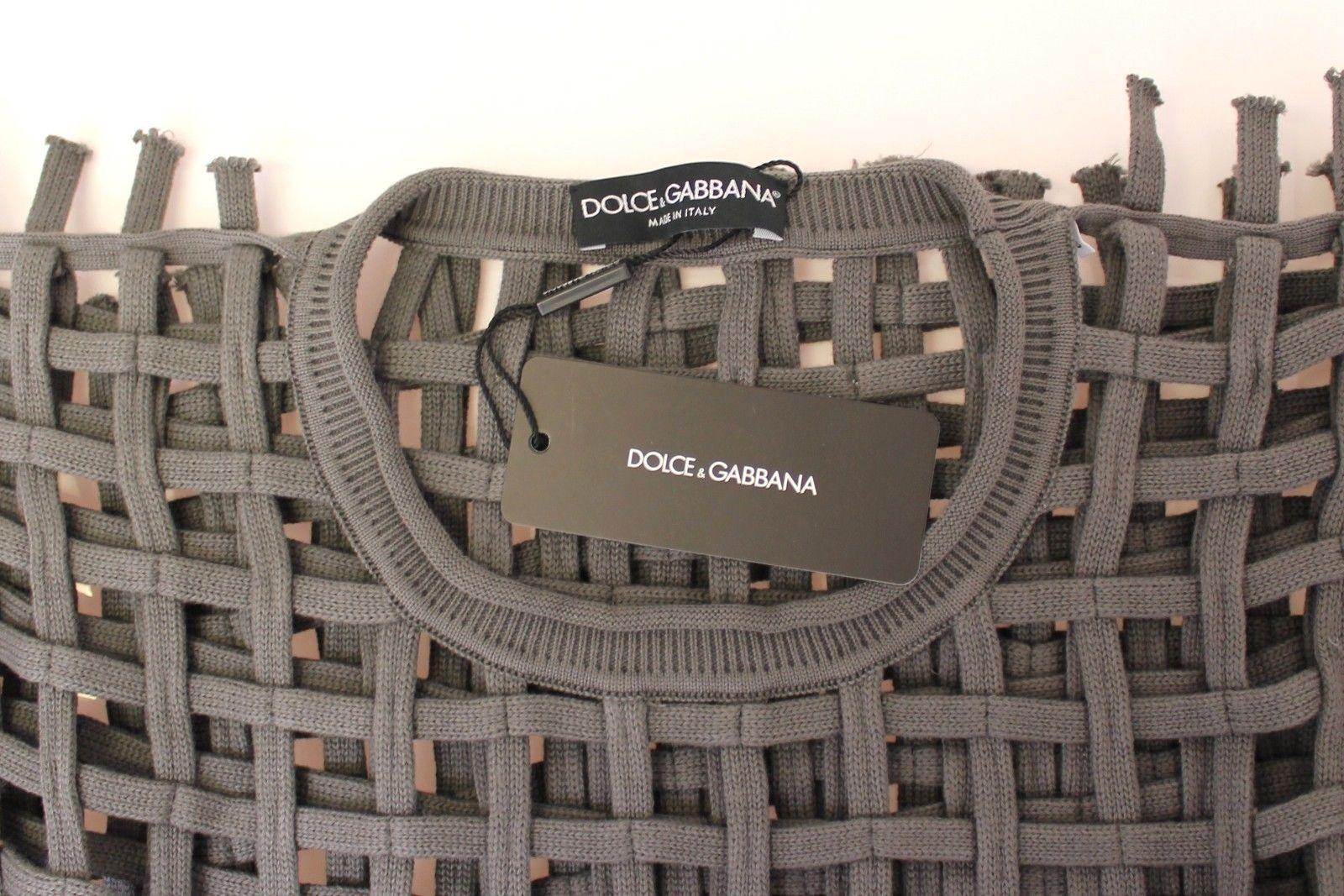 Dolce & Gabbana Gray Runway Catwalk Nets Knitted Sweater