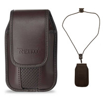 Around the neck Brown hanging case and lanyard fits Alcatel Fling - $19.79