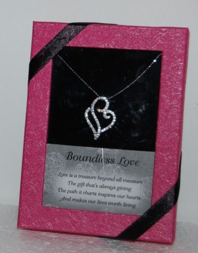DM Merchandising BLHEART Boundless Love Heart Necklace Clear Rhinestone Gift Box