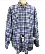 POLO RALPH LAUREN Big Man 3XB Blue Plaid Shirt McClassics Long Slv Butto... - $44.98