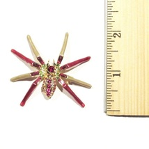 Spider Pin Brooch Pink Aqua Crystal Gold Tone Metal Autumn Fall Halloween image 4